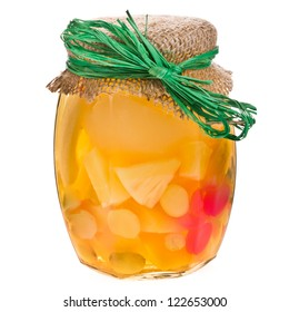 Glass Jar of canned fruit isolated on white background