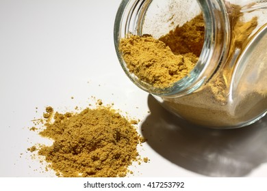 Glass jar containing turmeric powder