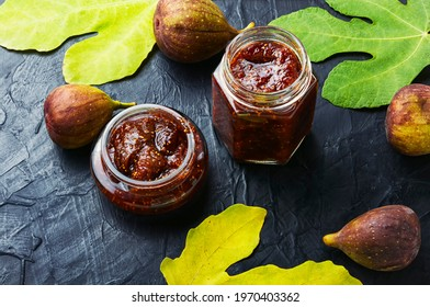 Glass jar with fig jam.Fig marmalade.Canning of fruit