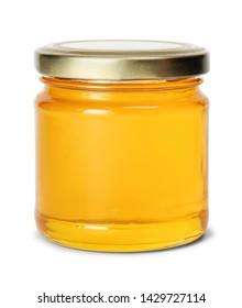 Glass jar full of sweet honey isolated on white background - Shutterstock ID 1429727114