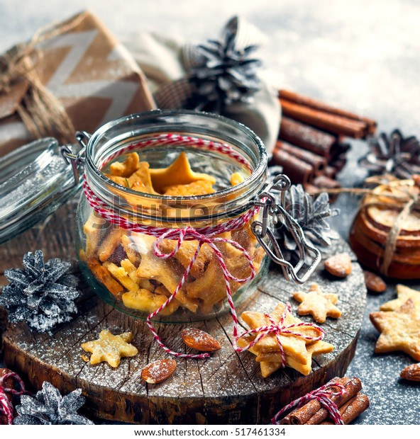 Glass Jar Ginger Christmas Cookies Form Stock Photo Edit Now 517461334