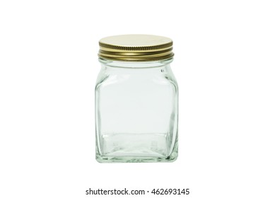 Glass jar isolated on white.Photo with clipping path