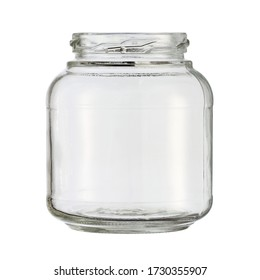 Glass jar kitchen utensil (with clipping path) isolated on white background