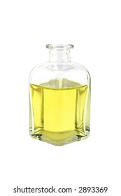 glass jar of oil isolated on white