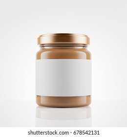 Glass jar of peanut butter  with  blank label