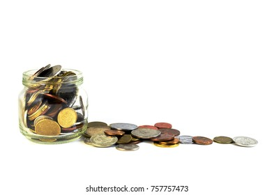 glass jar with pennies in side -  money savings concept