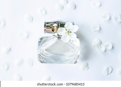 A glass jar of perfume among white spring petals. Women's fragrance