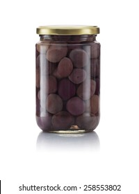Glass Jar of Pickled Black Olives Isolated on White Background