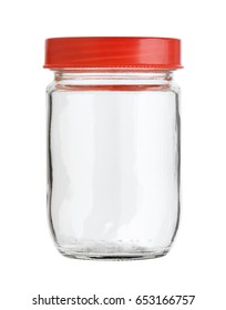 Glass jar with plastic cap isolated on white background