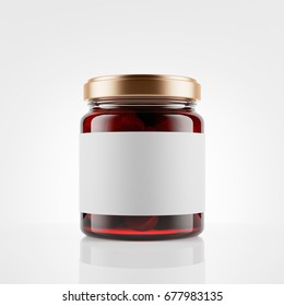 Glass jar of strawberry jam with blank label over white background. Mock up. 3d rendering