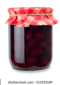 Glass jar of strawberry jam isolated on white background. Preserved fruits. Covered with paper
