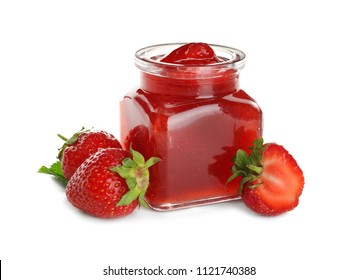 Glass jar with tasty strawberry jam on white background