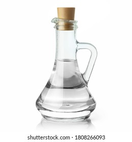 Glass jar with water or some clear liquid, isolated on white background