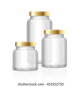 Glass Jars Bottles Empty Transparent. Small, Medium and Large. illustration