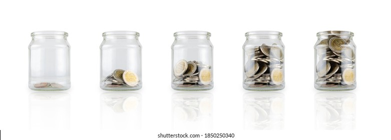 Glass jars with coins like diagram, savings concept. White isolated background