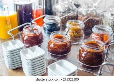 Glass jars with homemade jam