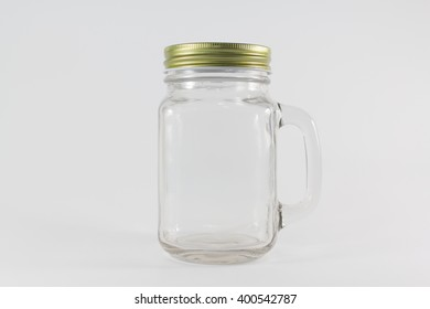 Glass jars isolate on white background