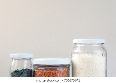 Glass Jars. Simple Background
