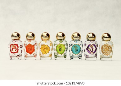 Glass jars with the symbols of the seven Chakras, psychic-energy center in the esoteric traditions of Indian religions