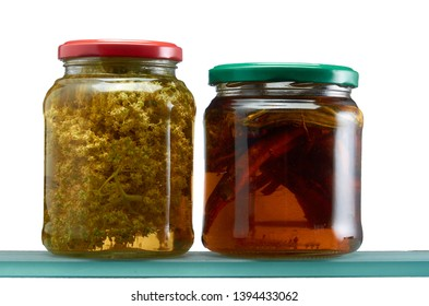 Glass jars with various tinctures