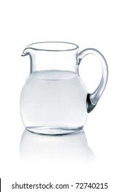 Glass jug with fresh water on white background
