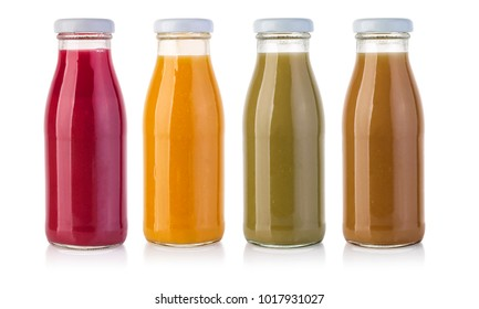 glass juice bottles isolated on white