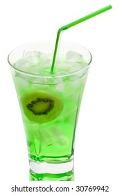 Glass of juice with  kiwi slice and ice on a white background