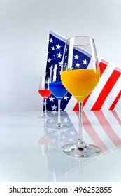 glass with juice and US flag