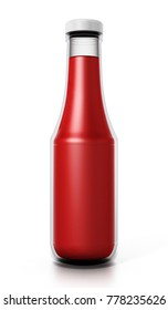 Glass ketchup bottle isolated on white background. 3D illustration.