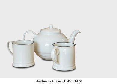 Glass and Kettles is made from ceramic tile on a white background with clipping path