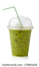 Glass of kiwi smoothie isolated on white background