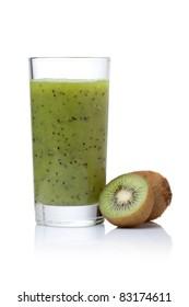 glass of kiwi smoothie on a white background