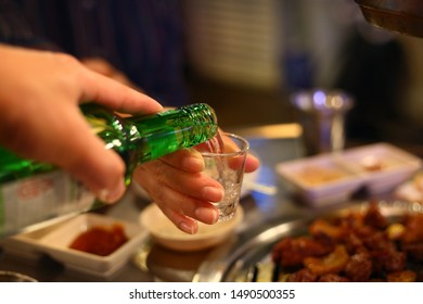 a glass of Korean style soju
