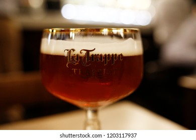 A glass of La Trappe Quadrupel beer in table in local bar in Brussels, Belgium on Oct. 11, 2018.