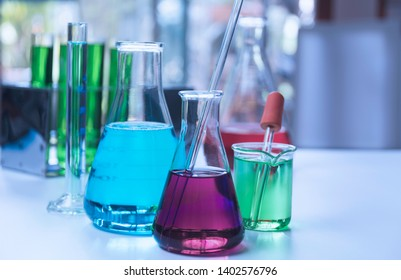 Glass laboratory chemical test tubes with liquid for analytical , medical, pharmaceutical and scientific research concept.