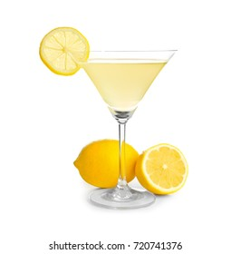 Glass of lemon drop martini with fruit on white background