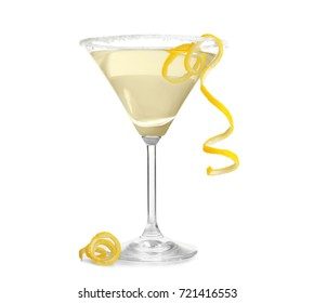 Glass of lemon drop martini with zest on white background