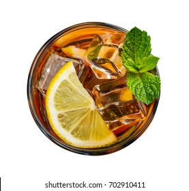 Glass of lemon ice tea isolated on white background, top view (clipping path included)