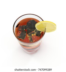 Glass of lemon ice tea isolated on white. 3D illustration
