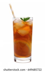 Glass of lemon iced tea with straw isolated on a white background