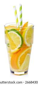 Glass of lemon, lime, orange detox water isolated on white background
