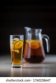 a glass of lemon tea , so refreshing