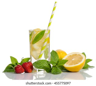 Glass  with  lemonade . Lemon and mint, strawberry isolated on white