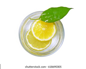 Glass Of Lemonade Lemon Slice With Leaf Top View Isolated On Blank White Background