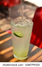 glass of lemonade on patio table