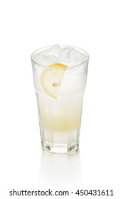 glass of lemonade on a white background. Refreshing summer drink with lemon. Suitable for menu design in a coffee shop