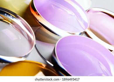 Glass lenses coated glasses optics close-up