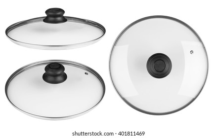 Glass lid from a pan isolated on white background