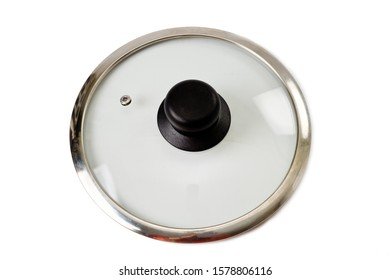 Glass lid with a plastic handle for a pot or pan, shot on a white background.