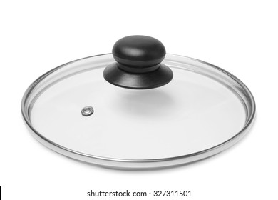 Glass lid from a pot or a pan on white background